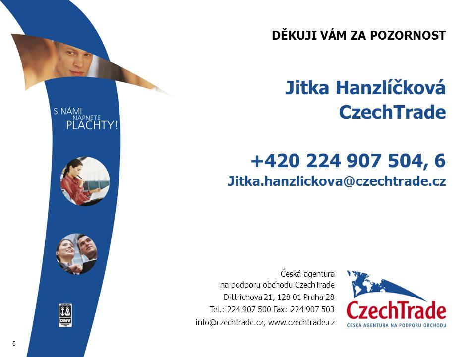 6 DĚKUJI VÁM ZA POZORNOST  Jitka Hanzlíčková  CzechTrade  +420 224 907 504, 6  Jitka.hanzlickova@czechtrade.cz Česká agentura na podporu obchodu CzechTrade Dittrichova 21, 128 01 Praha 28 Tel.: 224 907 500 Fax: 224 907 503 info@czechtrade.cz, www.czechtrade.cz