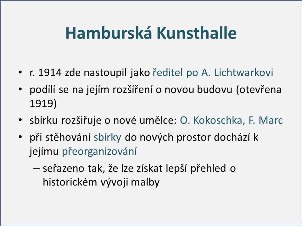 Hamburská Kunsthalle r. 1914 zde nastoupil jako ředitel po A. Lichtwarkovi podílí se na jejím rozšíření o novou budovu (otevřena 1919) sbírku rozšiřuj