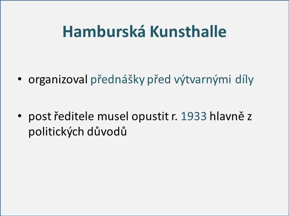 Hamburská Kunsthalle organizoval přednášky před výtvarnými díly post ředitele musel opustit r. 1933 hlavně z politických důvodů