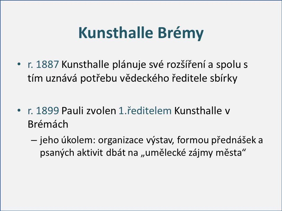 Kunsthalle Brémy r. 1887 Kunsthalle plánuje své rozšíření a spolu s tím uznává potřebu vědeckého ředitele sbírky r. 1899 Pauli zvolen 1.ředitelem Kuns