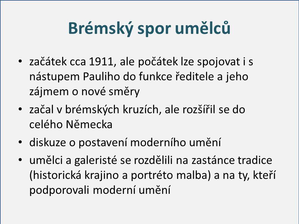 Brémský spor umělců začátek cca 1911, ale počátek lze spojovat i s nástupem Pauliho do funkce ředitele a jeho zájmem o nové směry začal v brémských kr