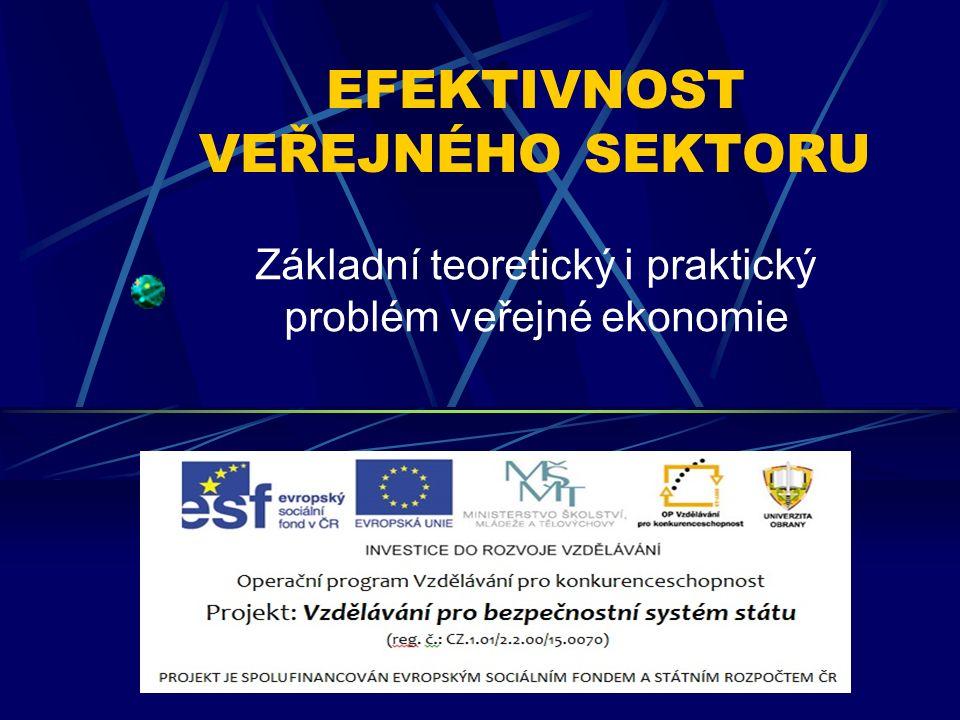 EFEKTIVNOST VEŘEJNÉHO SEKTORU Základní teoretický i praktický problém veřejné ekonomie