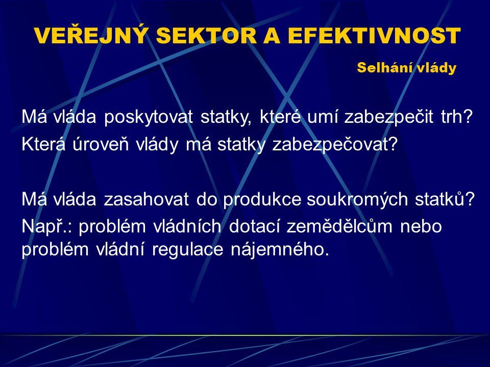 VEŘEJNÝ SEKTOR A EFEKTIVNOST Má vláda poskytovat statky, které umí zabezpečit trh.