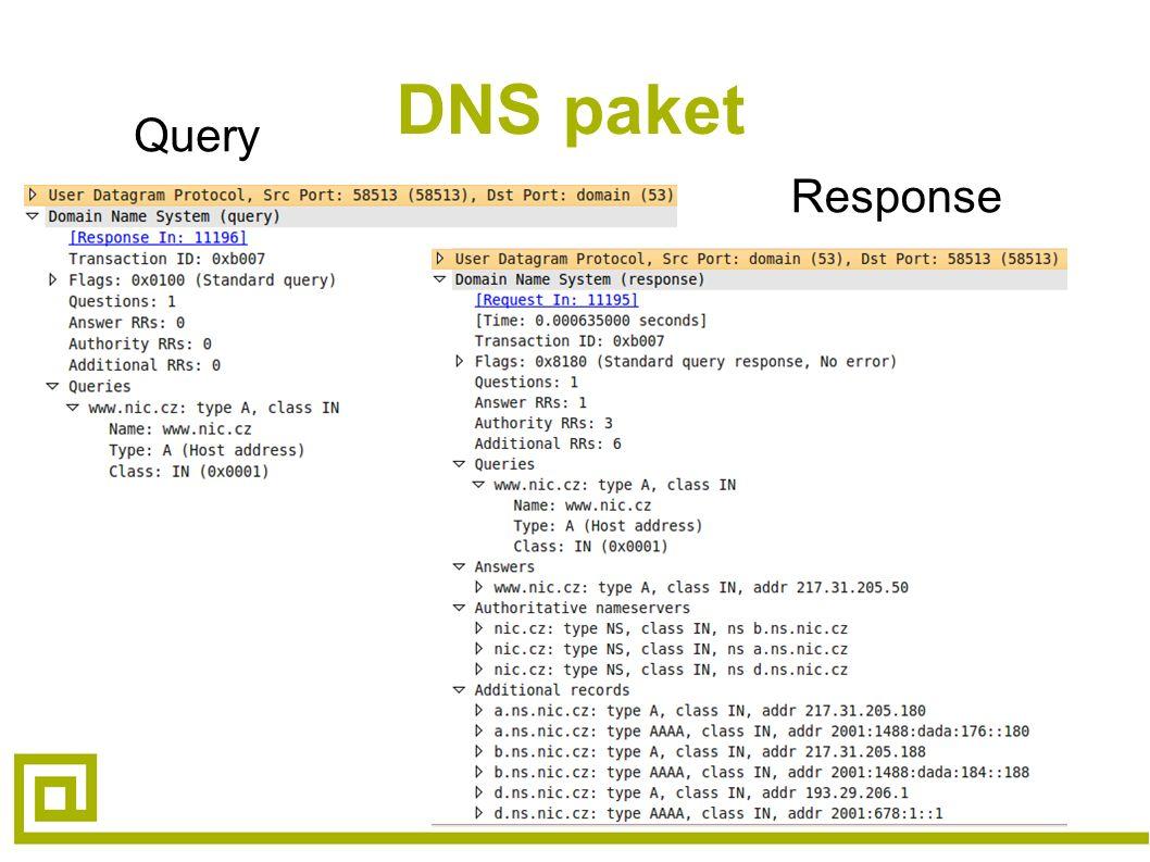 DNS paket Query Response