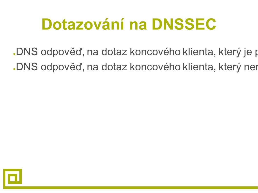 Dotazování na DNSSEC ● DNS odpověď, na dotaz koncového klienta, který je podepsán a zvalidován, obsahuje požadovaný RRset ● DNS odpověď, na dotaz konc
