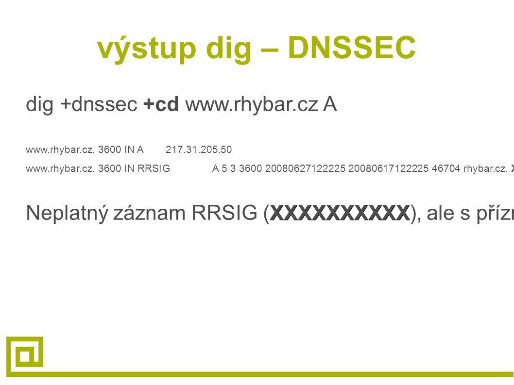 výstup dig – DNSSEC dig +dnssec +cd www.rhybar.cz A www.rhybar.cz. 3600 IN A217.31.205.50 www.rhybar.cz. 3600 IN RRSIGA 5 3 3600 20080627122225 200806