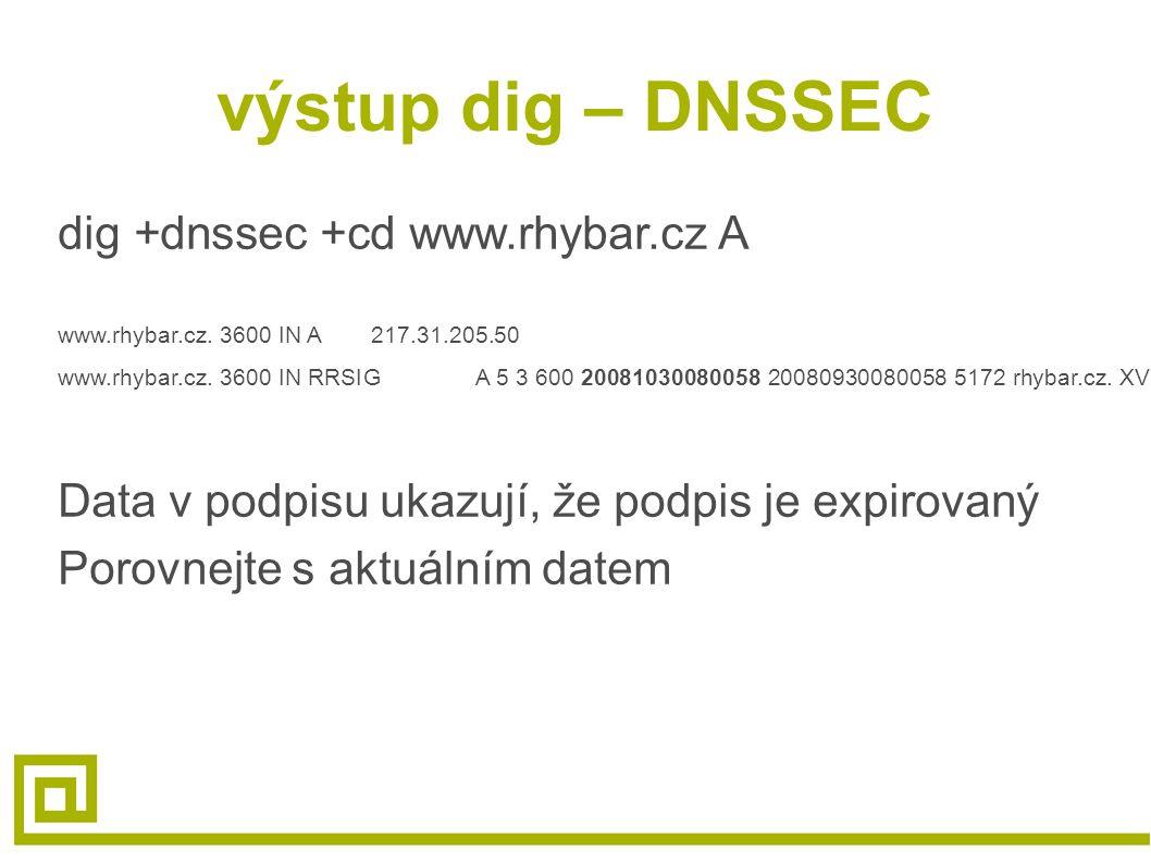 výstup dig – DNSSEC dig +dnssec +cd www.rhybar.cz A www.rhybar.cz. 3600 IN A217.31.205.50 www.rhybar.cz. 3600 IN RRSIGA 5 3 600 20081030080058 2008093