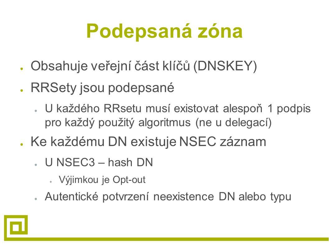 Podepsaná zóna ● Obsahuje veřejní část klíčů (DNSKEY) ● RRSety jsou podepsané ● U každého RRsetu musí existovat alespoň 1 podpis pro každý použitý algoritmus (ne u delegací) ● Ke každému DN existuje NSEC záznam ● U NSEC3 – hash DN ● Výjimkou je Opt-out ● Autentické potvrzení neexistence DN alebo typu