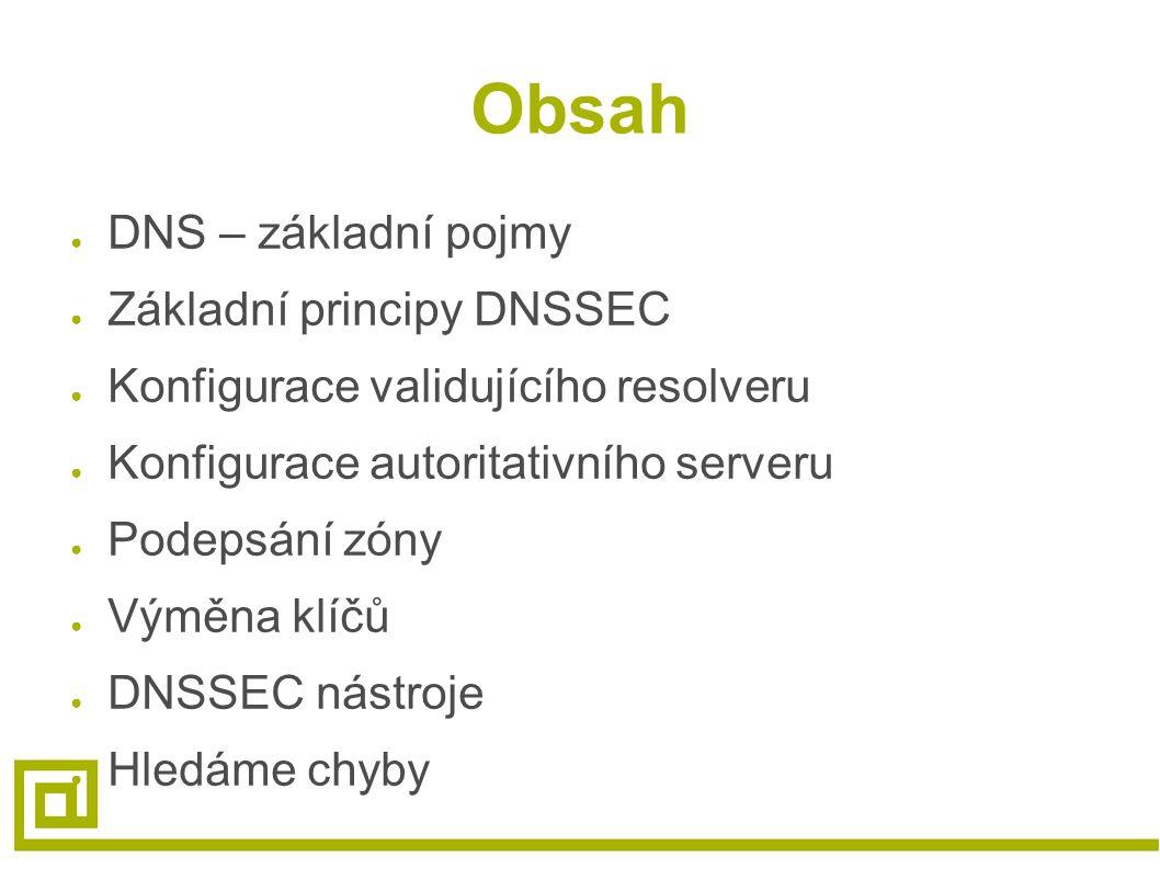 Obsah ● DNS – základní pojmy ● Základní principy DNSSEC ● Konfigurace validujícího resolveru ● Konfigurace autoritativního serveru ● Podepsání zóny ●