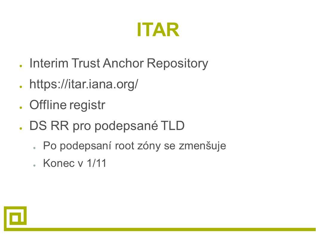 ITAR ● Interim Trust Anchor Repository ● https://itar.iana.org/ ● Offline registr ● DS RR pro podepsané TLD ● Po podepsaní root zóny se zmenšuje ● Kon
