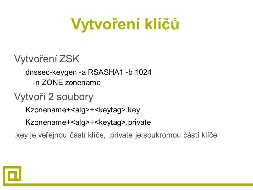 Vytvoření klíčů Vytvoření ZSK dnssec-keygen -a RSASHA1 -b 1024 -n ZONE zonename Vytvoří 2 soubory Kzonename+ +.key Kzonename+ +.private.key je veřejnou částí klíče,.private je soukromou částí klíče