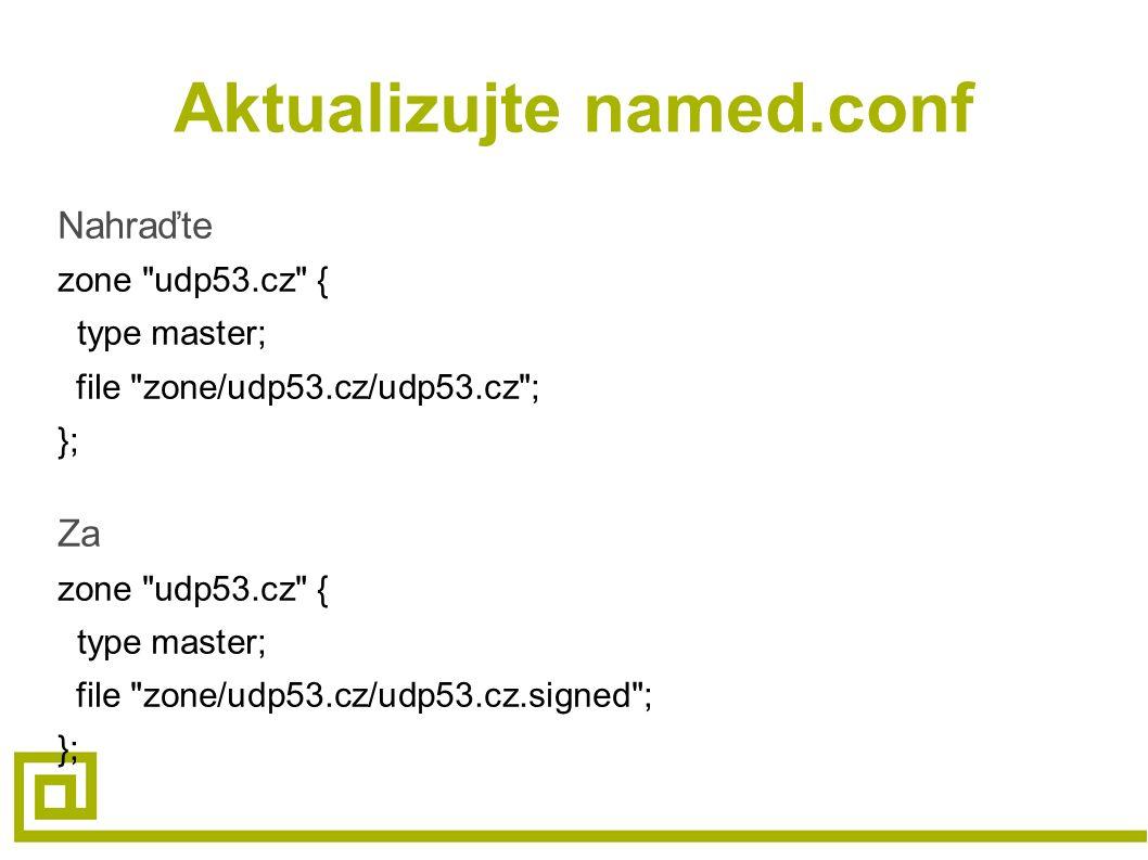 Aktualizujte named.conf Nahraďte zone