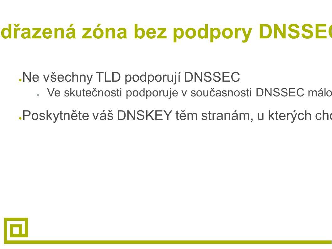 Nadřazená zóna bez podpory DNSSECu ● Ne všechny TLD podporují DNSSEC ● Ve skutečnosti podporuje v současnosti DNSSEC málo TLD (.cz,.se,.br,.bg,.pt,.ch