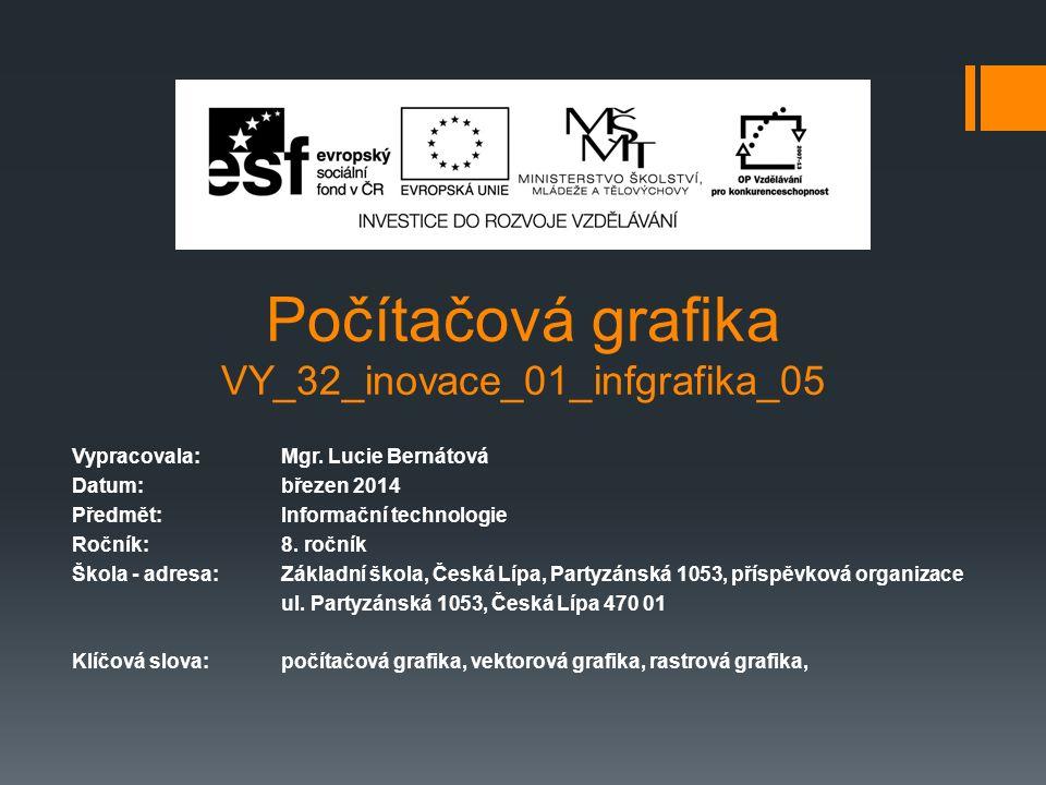 Počítačová grafika VY_32_inovace_01_infgrafika_05 Vypracovala: Mgr. Lucie Bernátová Datum: březen 2014 Předmět:Informační technologie Ročník:8. ročník