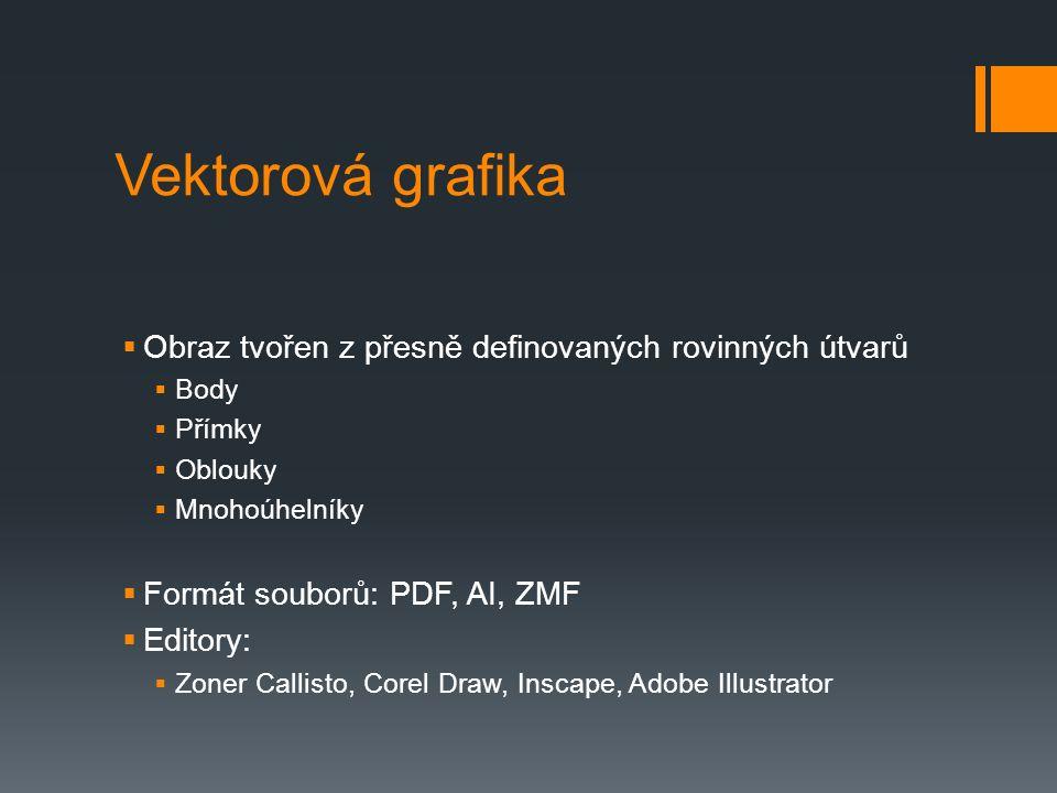 Vektorová grafika  Obraz tvořen z přesně definovaných rovinných útvarů  Body  Přímky  Oblouky  Mnohoúhelníky  Formát souborů: PDF, AI, ZMF  Edi