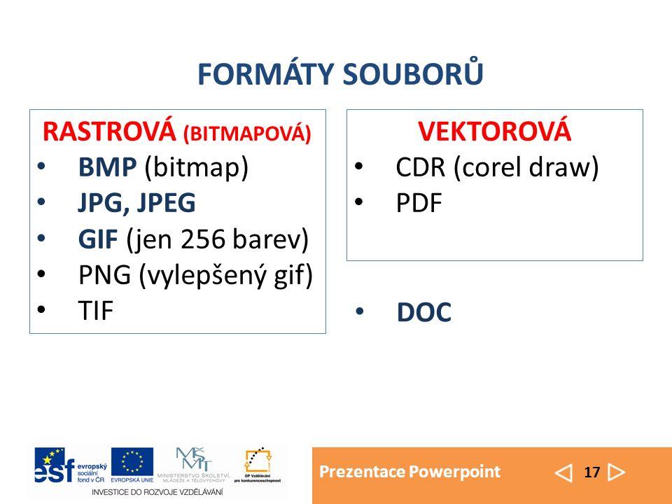 Prezentace Powerpoint 17 FORMÁTY SOUBORŮ VEKTOROVÁ CDR (corel draw) PDF RASTROVÁ (BITMAPOVÁ) BMP (bitmap) JPG, JPEG GIF (jen 256 barev) PNG (vylepšený gif) TIF DOC