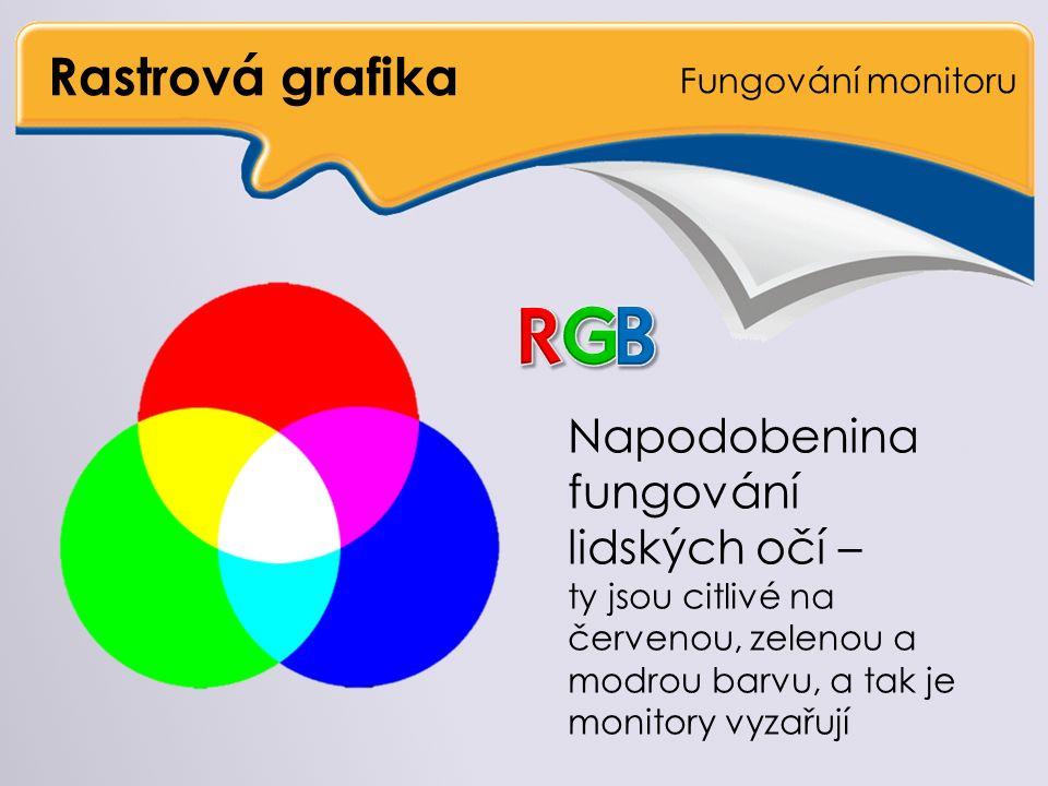 Rastrová grafika Formáty souborů Rovněž podporuje transparentnost Na rozdíl od PNG si dokáže zapamatovat pouze 256 barev Umí animace – zobrazit obrázky za sebou Vhodný pro animace na internetu Nevhodný pro fotografie a velké obrazy