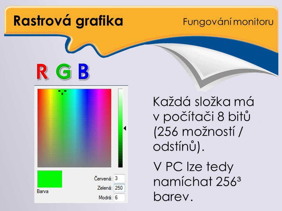 Rastrová grafika Fungování monitoru Každá složka má v počítači 8 bitů (256 možností / odstínů).