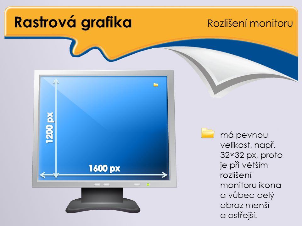 Rastrová grafika Rozlišení monitoru … má pevnou velikost, např.
