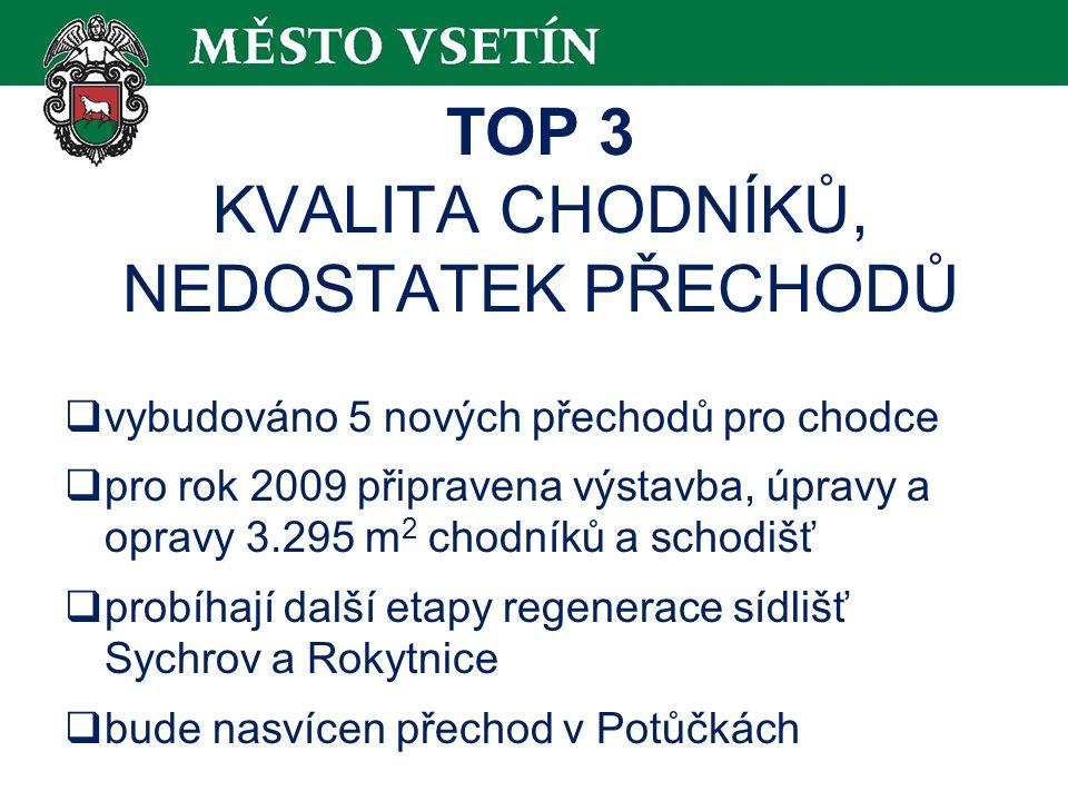 TOP 3 KVALITA CHODNÍKŮ, NEDOSTATEK PŘECHODŮ  vybudováno 5 nových přechodů pro chodce  pro rok 2009 připravena výstavba, úpravy a opravy 3.295 m 2 chodníků a schodišť  probíhají další etapy regenerace sídlišť Sychrov a Rokytnice  bude nasvícen přechod v Potůčkách