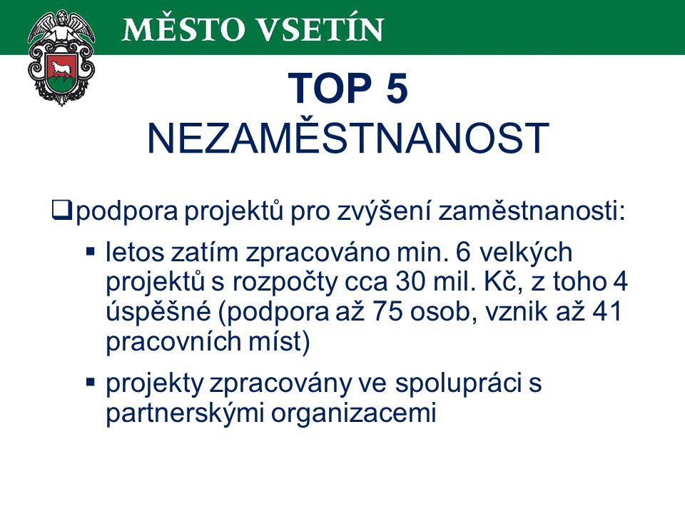 TOP 5 NEZAMĚSTNANOST  podpora projektů pro zvýšení zaměstnanosti:  letos zatím zpracováno min.