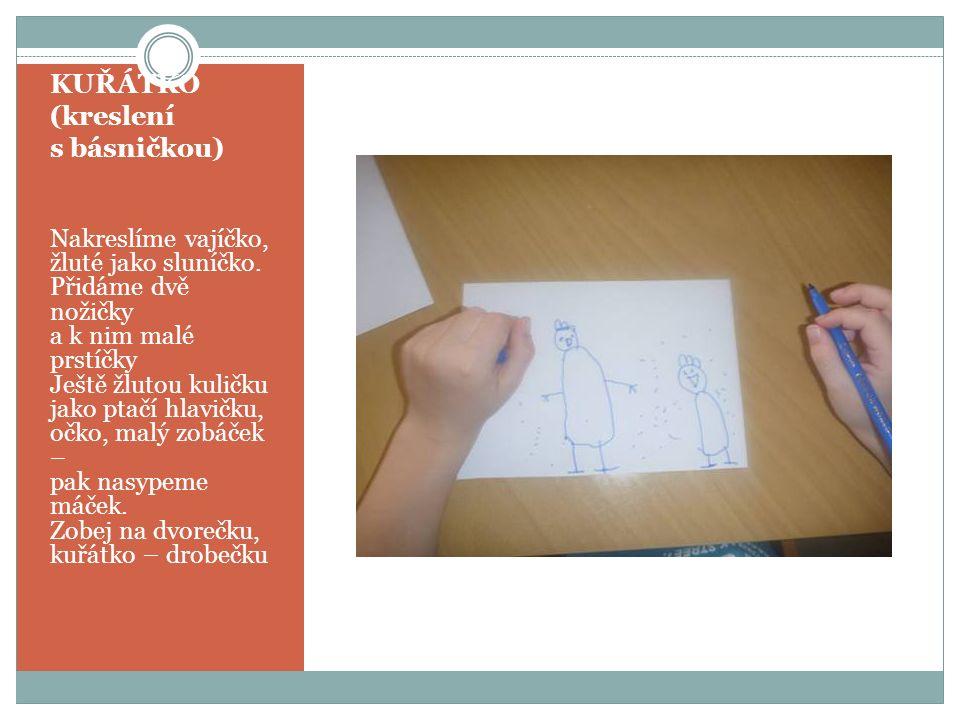 KUŘÁTKO (kreslení s básničkou) Nakreslíme vajíčko, žluté jako sluníčko. Přidáme dvě nožičky a k nim malé prstíčky Ještě žlutou kuličku jako ptačí hlav