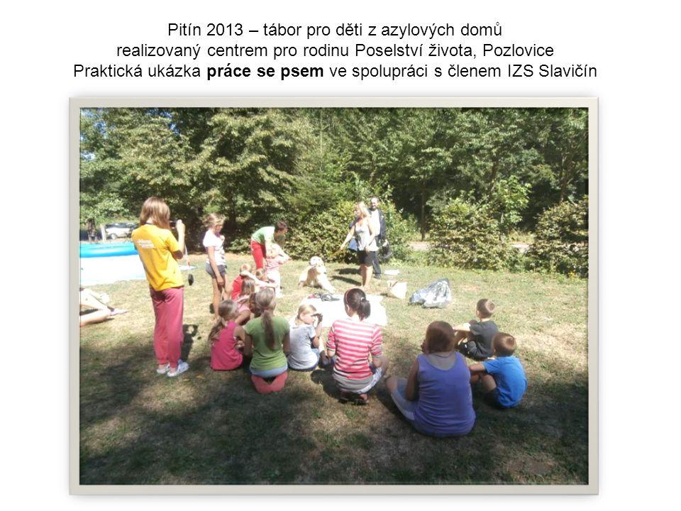 Pitín 2013 – tábor pro děti z azylových domů realizovaný centrem pro rodinu Poselství života, Pozlovice Praktická ukázka práce se psem ve spolupráci s členem IZS Slavičín