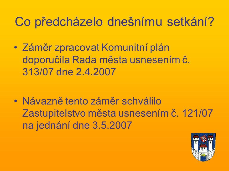 Co předcházelo dnešnímu setkání. Záměr zpracovat Komunitní plán doporučila Rada města usnesením č.