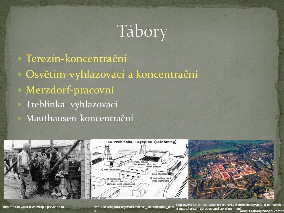 Terezín-koncentrační Osvětim-vyhlazovací a koncentrační Merzdorf-pracovní Treblinka- vyhlazovací Mauthausen-koncentrační http://en.wikipedia.org/wiki/Treblinka_extermination_cam p http://www.terezin-malapevnost.estranky.cz/fotoalbum/vyhled-a-mapa/vyhled- a-mapa/terezin_aeropostcard_zero.jpg.-.html http://forum.valka.cz/viewtopic.php/t/18849 Daniel Brandl a Michael Verner