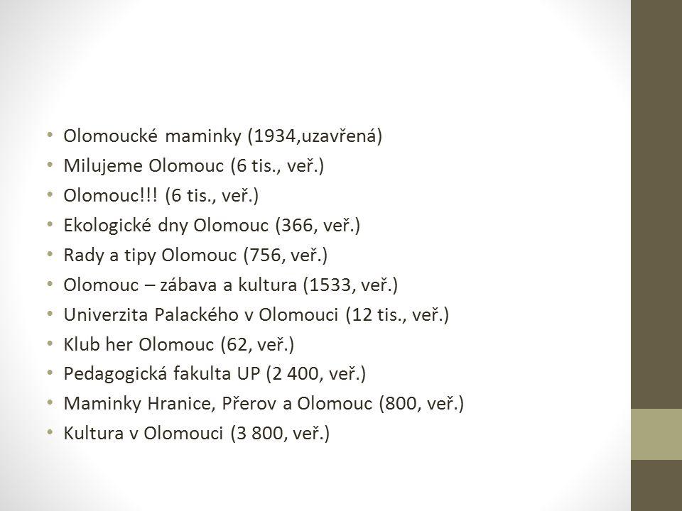 Olomoucké maminky (1934,uzavřená) Milujeme Olomouc (6 tis., veř.) Olomouc!!! (6 tis., veř.) Ekologické dny Olomouc (366, veř.) Rady a tipy Olomouc (75