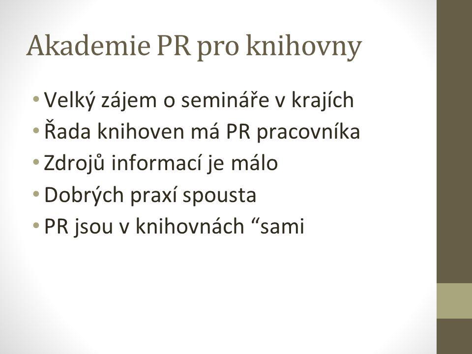Akademie PR pro knihovny Velký zájem o semináře v krajích Řada knihoven má PR pracovníka Zdrojů informací je málo Dobrých praxí spousta PR jsou v knih