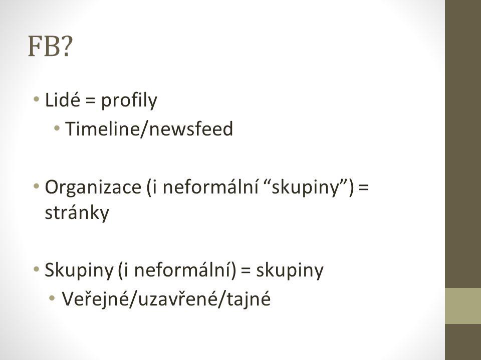 """FB? Lidé = profily Timeline/newsfeed Organizace (i neformální """"skupiny"""") = stránky Skupiny (i neformální) = skupiny Veřejné/uzavřené/tajné"""