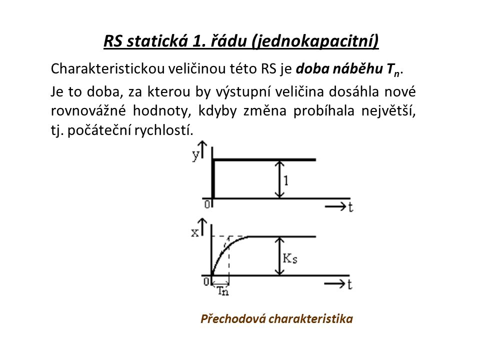 RS statická 1.řádu (jednokapacitní) Charakteristickou veličinou této RS je doba náběhu T n.