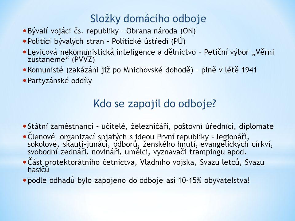 Složky domácího odboje Bývalí vojáci čs.