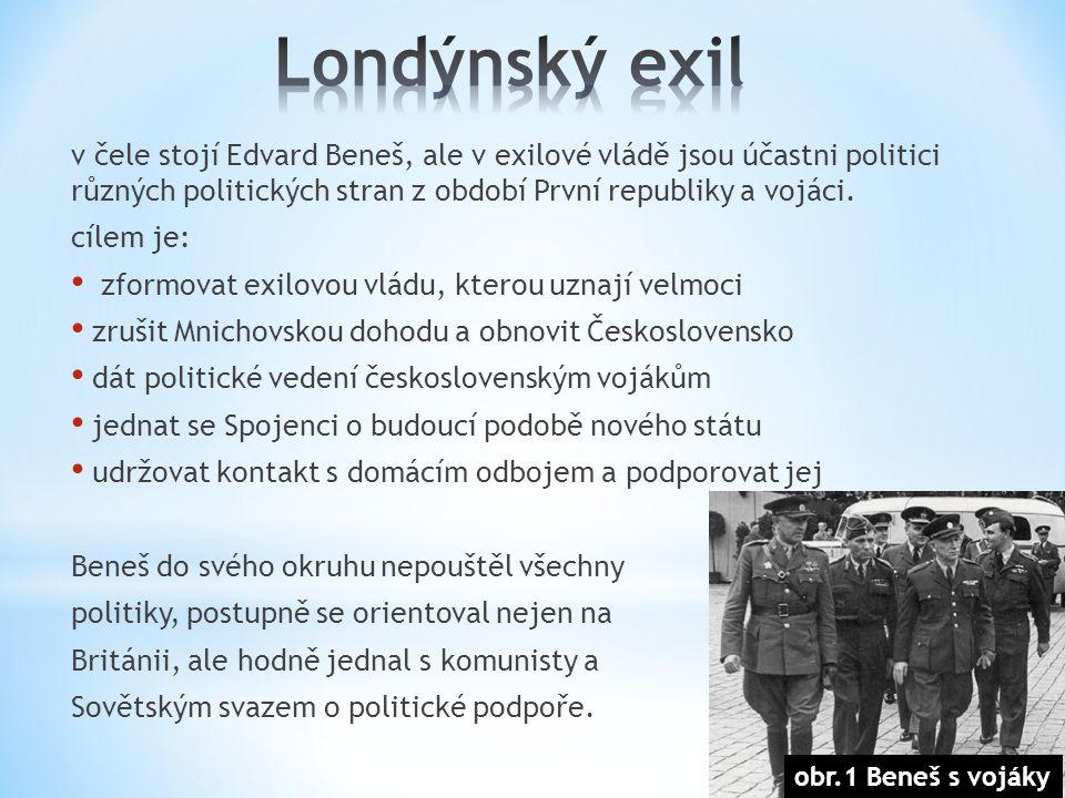 v čele stojí Edvard Beneš, ale v exilové vládě jsou účastni politici různých politických stran z období První republiky a vojáci.