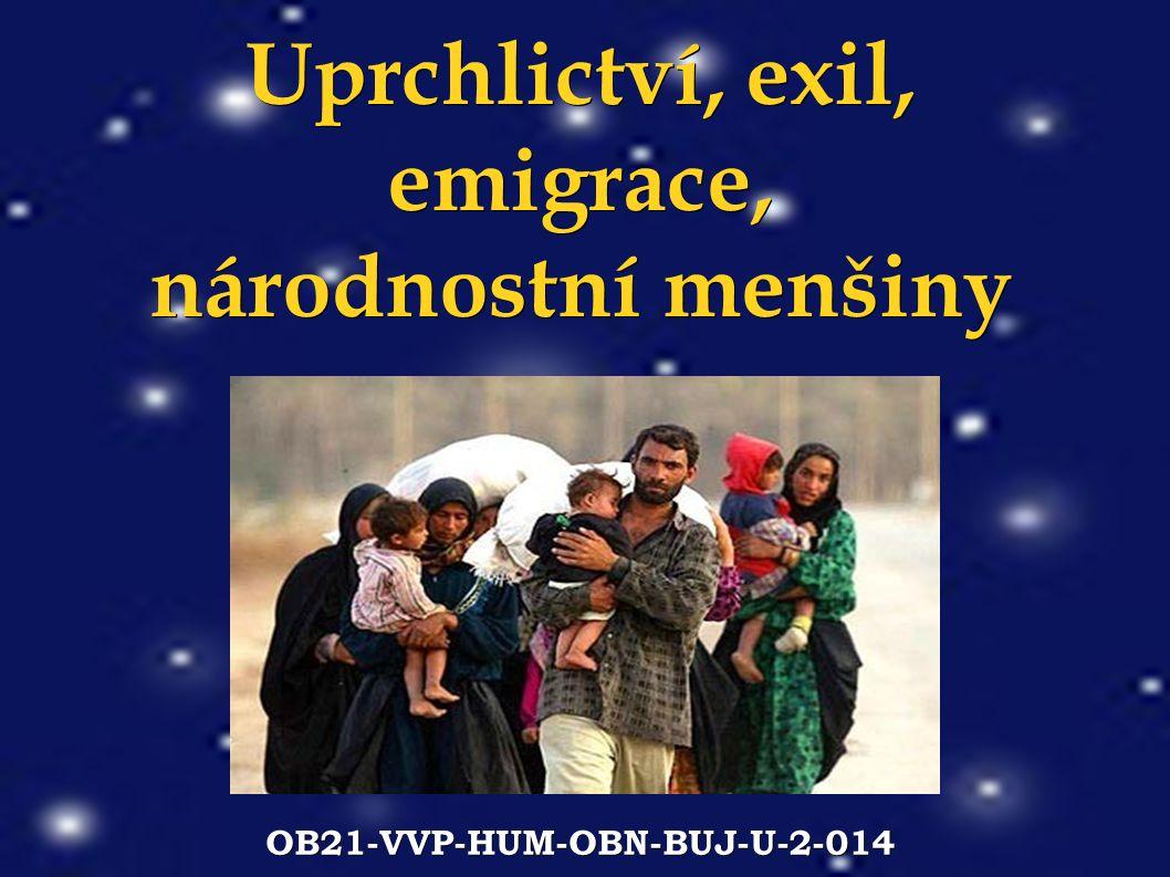 Uprchlictví, exil, emigrace, národnostní menšiny OB21-VVP-HUM-OBN-BUJ-U-2-014