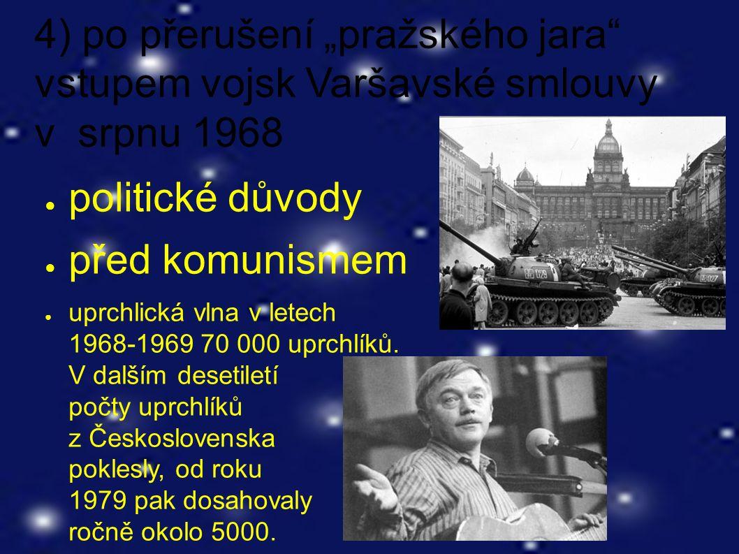 """4) po přerušení """"pražského jara vstupem vojsk Varšavské smlouvy v srpnu 1968 ● politické důvody ● před komunismem ● uprchlická vlna v letech 1968-1969 70 000 uprchlíků."""