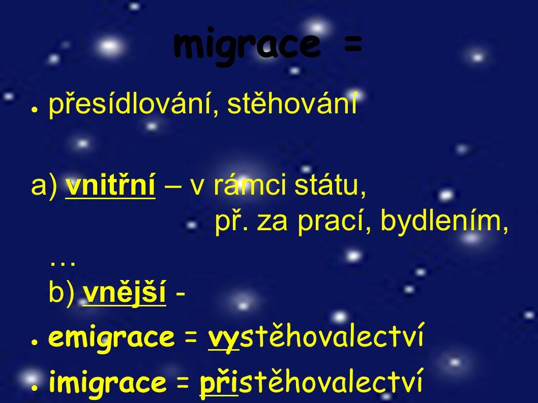 Vlny emigrace v dějinách českých zemí: 1) po bitvě na Bílé hoře 1620 ● z náboženských důvodů ● např.
