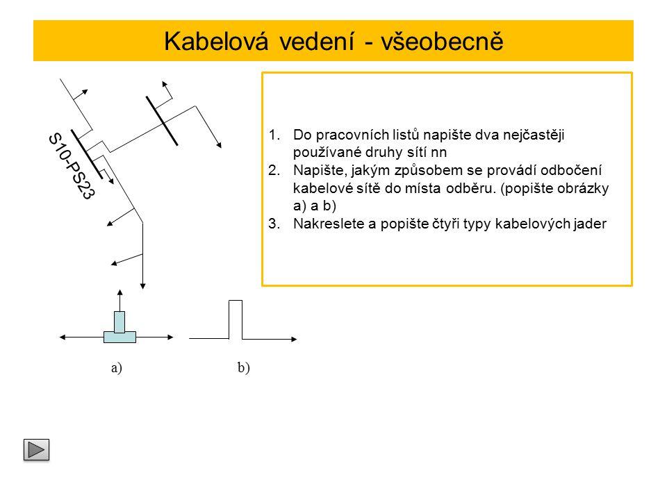 Značení kabelů podle ČSN X Jmenovité napětí 750 V (neoznačuje se) 1 kV ……………………………1 3 kV ……………………………3 6 kV ……………………………6 Materiál jádra Al ……………………………A Cu ……………………………C Materiál izolace Měkčený PVC ………………...Y Zesítěný PE …………………...X Lineární PE ……………………E Charakteristické značení Silový kabel …………………..K Materiál pláště Měkčený PVC ………………..Y Kovové stínění Cu, koncentrický vodič CuC Pb plášť ………………………O Obaly nad pláštěm P …………pancíř z ocelových pásků D ………...Pancíř z ocelových drátů Z ………...Pancíř z ocelových drátů nemagn.