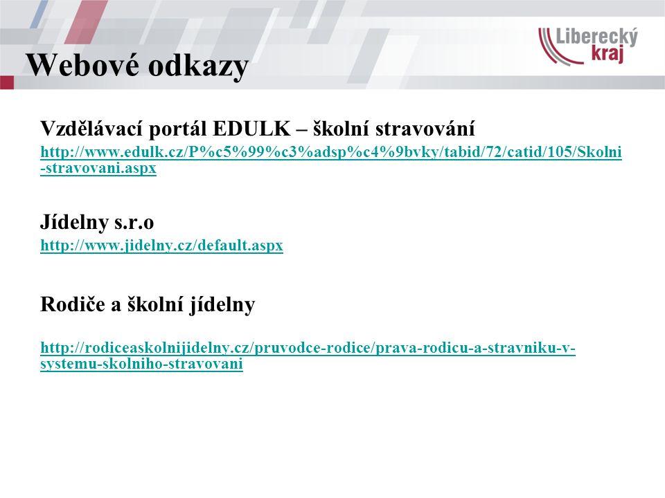 Webové odkazy Vzdělávací portál EDULK – školní stravování http://www.edulk.cz/P%c5%99%c3%adsp%c4%9bvky/tabid/72/catid/105/Skolni -stravovani.aspx Jídelny s.r.o http://www.jidelny.cz/default.aspx Rodiče a školní jídelny http://rodiceaskolnijidelny.cz/pruvodce-rodice/prava-rodicu-a-stravniku-v- systemu-skolniho-stravovani
