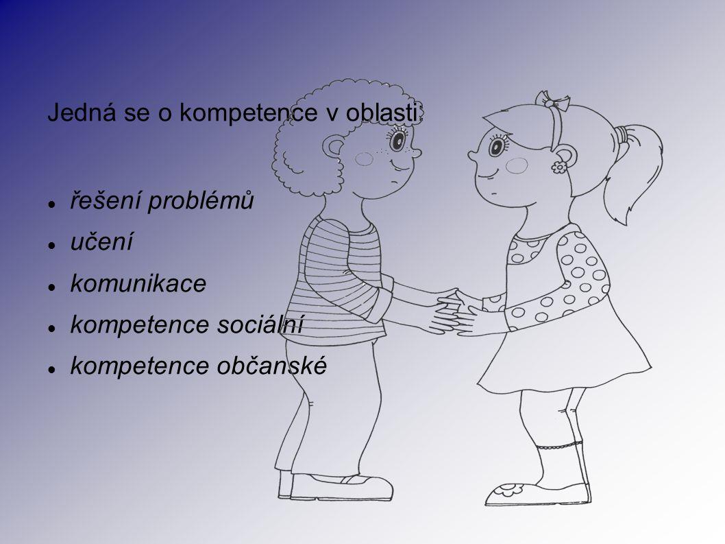 Jedná se o kompetence v oblasti : řešení problémů učení komunikace kompetence sociální kompetence občanské