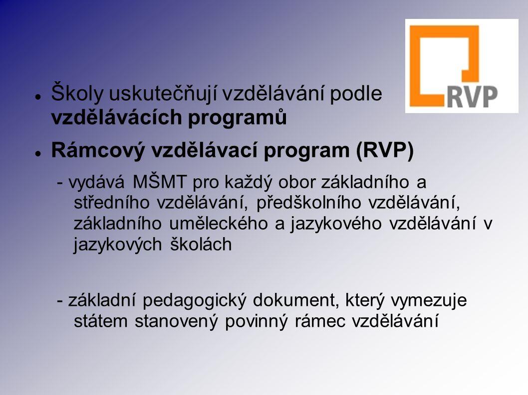 Školy uskutečňují vzdělávání podle vzdělávácích programů Rámcový vzdělávací program (RVP) - vydává MŠMT pro každý obor základního a středního vzdělávání, předškolního vzdělávání, základního uměleckého a jazykového vzdělávání v jazykových školách - základní pedagogický dokument, který vymezuje státem stanovený povinný rámec vzdělávání