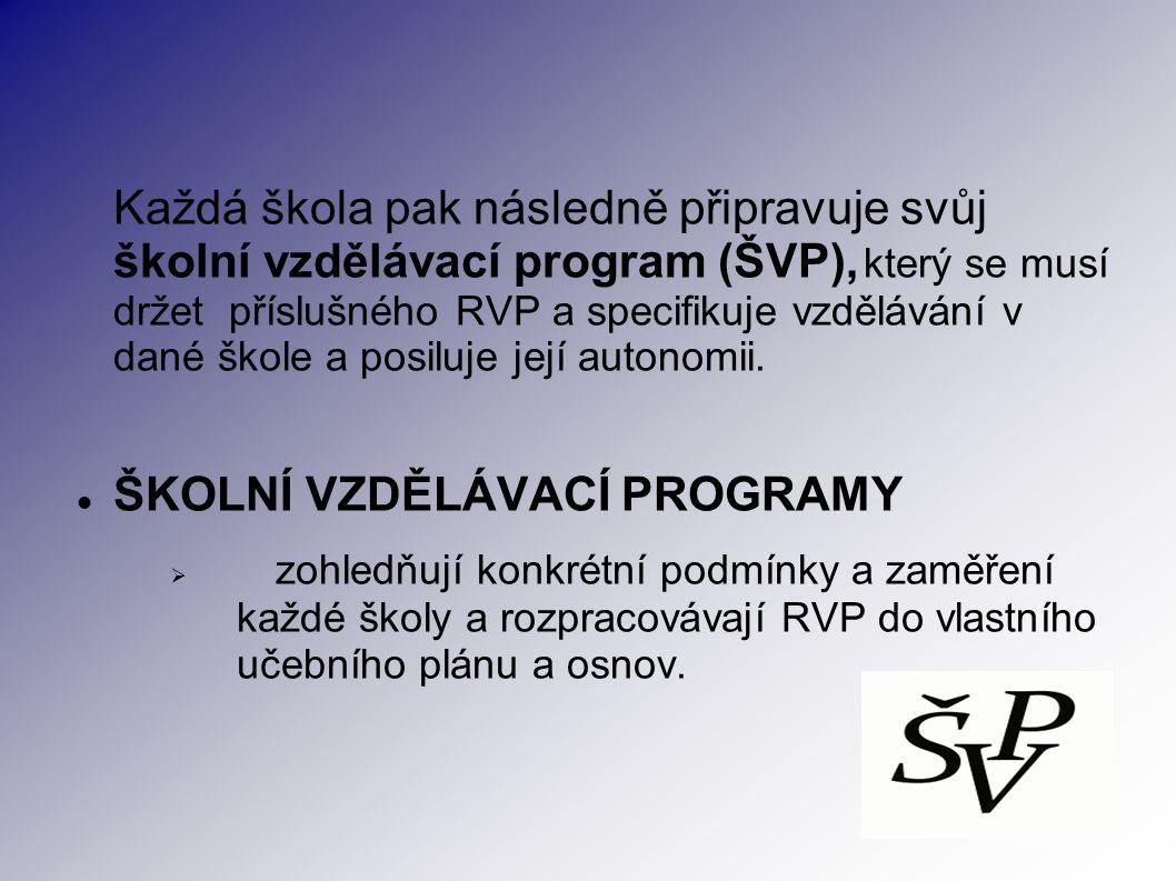 Každá škola pak následně připravuje svůj školní vzdělávací program (ŠVP), který se musí držet příslušného RVP a specifikuje vzdělávání v dané škole a posiluje její autonomii.