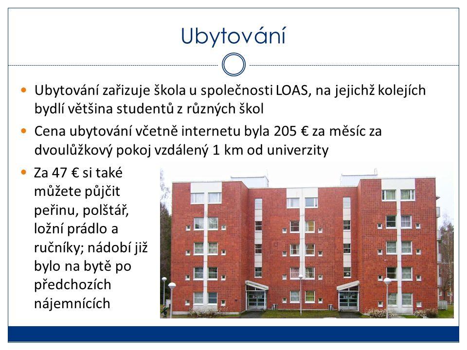 Ubytování Ubytování zařizuje škola u společnosti LOAS, na jejichž kolejích bydlí většina studentů z různých škol Cena ubytování včetně internetu byla 205 € za měsíc za dvoulůžkový pokoj vzdálený 1 km od univerzity Za 47 € si také můžete půjčit peřinu, polštář, ložní prádlo a ručníky; nádobí již bylo na bytě po předchozích nájemnících