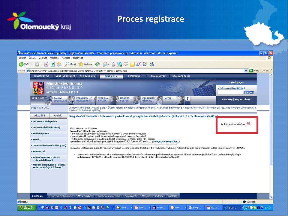 Proces registrace