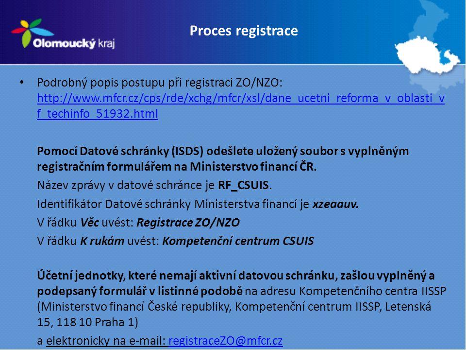 Podrobný popis postupu při registraci ZO/NZO: http://www.mfcr.cz/cps/rde/xchg/mfcr/xsl/dane_ucetni_reforma_v_oblasti_v f_techinfo_51932.html http://www.mfcr.cz/cps/rde/xchg/mfcr/xsl/dane_ucetni_reforma_v_oblasti_v f_techinfo_51932.html Pomocí Datové schránky (ISDS) odešlete uložený soubor s vyplněným registračním formulářem na Ministerstvo financí ČR.