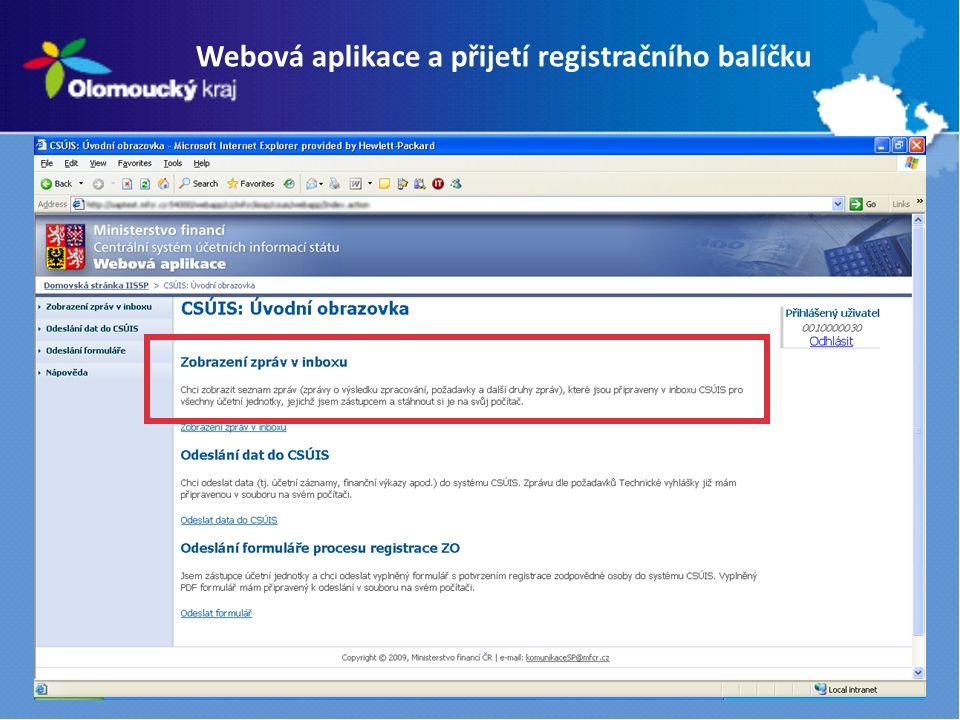 Webová aplikace a přijetí registračního balíčku