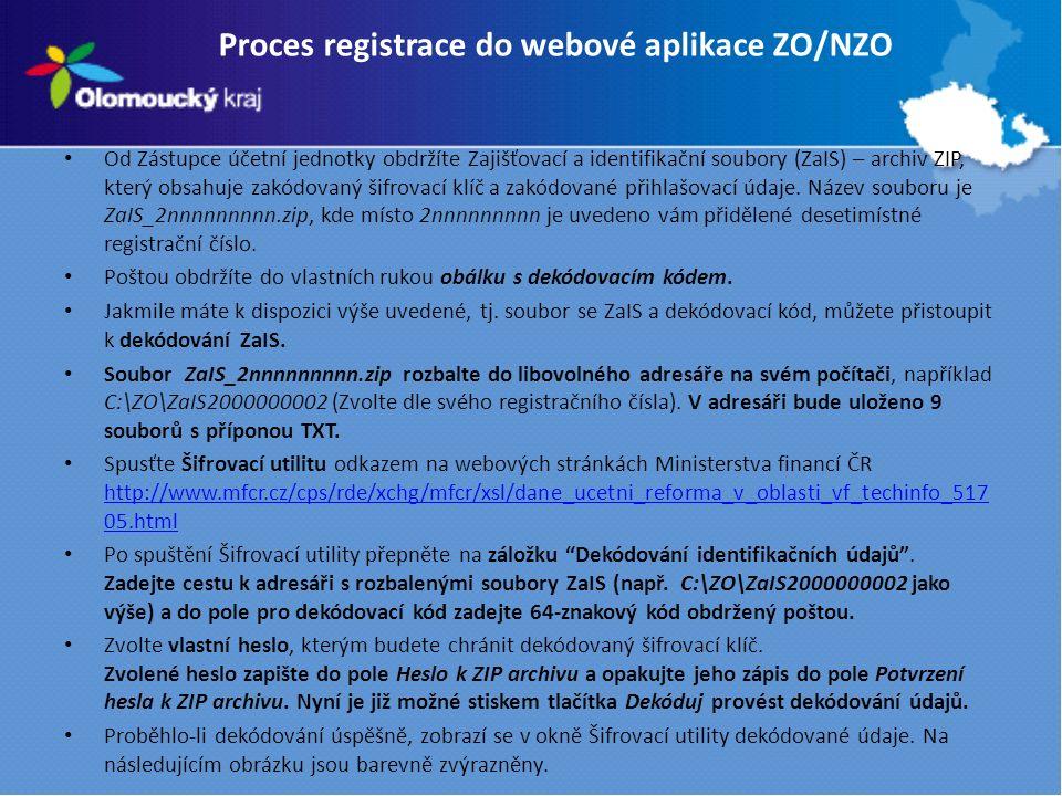 Proces registrace do webové aplikace ZO/NZO Od Zástupce účetní jednotky obdržíte Zajišťovací a identifikační soubory (ZaIS) – archiv ZIP, který obsahuje zakódovaný šifrovací klíč a zakódované přihlašovací údaje.