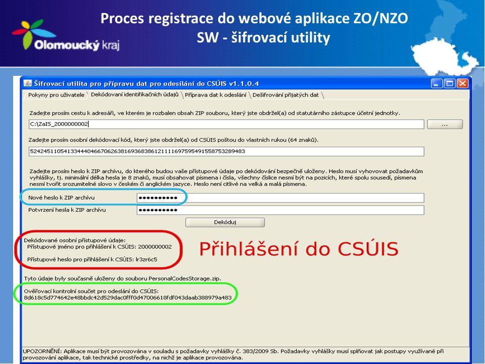 Proces registrace do webové aplikace ZO/NZO SW - šifrovací utility