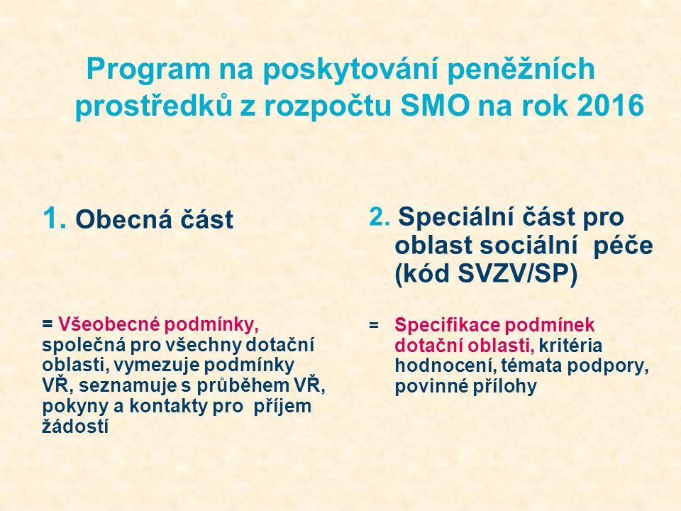 Program na poskytování peněžních prostředků z rozpočtu SMO na rok 2016 kódy tělovýchova a sportKSV/TV volný časKSV/VČ vrcholový sportKSV/VS podpora osob s handicapemSVZV/H prevence kriminalitySVZV/PK protidrogová prevenceSVZV/PP sociální péčeSVZV/SP školstvíSVZV/ŠKOL zdravotnictví SVZV/ZDRAV NELZE PODÁVAT ŽÁDOSTI S TOTOŽNÝMI PROJEKTY DO RŮZNÝCH DOTAČNÍCH OBLASTÍ!!!